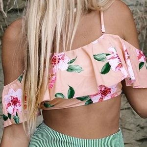 Sexy off the shoulder floral bathing suit top